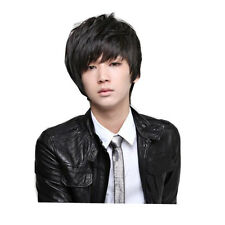 Fashion Man Short Black Straight Wig Handsome Style Cosplay Hair