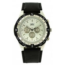 Softech Men's Silver Bezel Black PU Leather Strap Chronograph Analog Watch