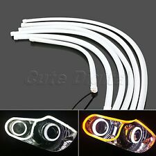 2x 60CM White/Yellow Car DRL Daytime Running Lamp LED Strip Light Flexible Tube