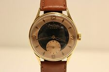 """VINTAGE RARE GOLD PLATED SUB SECOND MEN'S SWISS WATCH """"OMIKRON"""" /TWO TONE DIAL"""