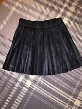 Karl Lagerfeld Black Leather Look Pleated Skirt Size FR 38 UK Sz 10 12