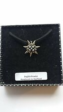 C21 Small Edelweiss Motif Pewter  PENDENT ON A BLACK CORD  Necklace Handmade