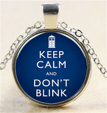 Vintage Doctor Who Cabochon Tibetan silver Glass Chain Pendant Necklace N51