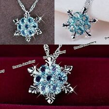 Christmas SnowFlake Gifts for Her - Unique Silver Necklace Crystal Diamond US1