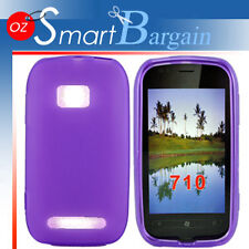 New PURPLE Soft Gel TPU Cover Case For NOKIA Lumia 710 + Screen Protector