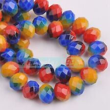 72pcs 8mm Rondelle Faceted Crystal Glass Loose Beads Diy Findings 234 colors