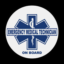 "Emergency Medical Technician On Board 3"" Round Reflective EMT Decal Sticker"
