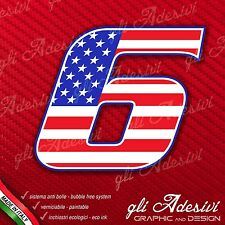 Adesivo Stickers NUMERO 6 moto auto cross gara USA Star & Stripes 5 cm