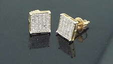 Mens Earrings Real Gold and Diamonds 0.15ctw 8mm Wide Screw Back 10K Gold Studs
