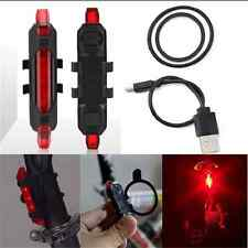 Cool USB Rechargeable 5 LED Bicycle Cycling Tail Rear Safety Warning Light Lamp