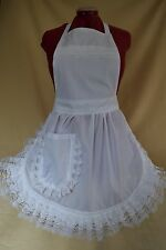 RETRO VINTAGE 50's STYLE FULL APRON / PINNY - WHITE with LACE TRIM