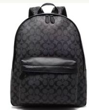 Coach Campus Large Charcoal/Black Signature Backpack F55398 Char/Black NWT