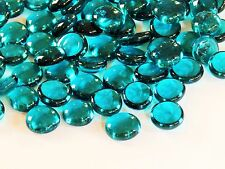 100 x Glass  Pebbles / Nuggets / Stones / Gems / Mosaic Tiles  - Teal Crystal