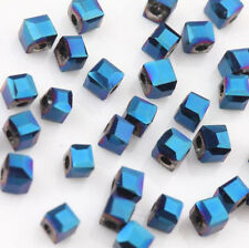 2mm Faceted Square Cube Cut Glass Crystal Charm Finding Loose Spacer Beads