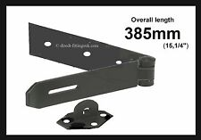 1x LONG Heavy duty Hasp & staple 385mm length/gates/Barn/Doors/BLACK W/Screws