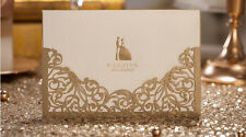50x Gold Laser Cut Lace Wedding Invitations Evening Invites Cards Envelope Seal