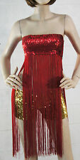 Fashion Stripper Solid Color Hanging Sequin Long Fringe Tassel Tube Top Dress OS