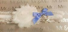 Wedding Garter Anchor Nautical Sailor Theme Blue and White Size Large/XLarge