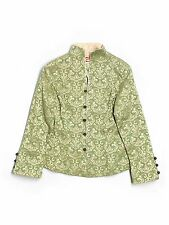 Women Shanghai Soho Light Green Gold Mandarin Asian Toggle Coat Jacket Size M