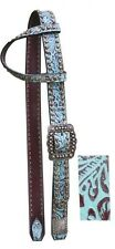 Showman Belt Style One Ear Leather Headstall w/ TEAL Filigree Print! NEW TACK!