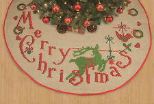 Merry Christmas Tree Skirt Printed Cross Stitch Kit