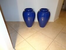 "PAIR OF BAUER POTTERY #129 ORNAMENTAL COBALT ROYAL BLUE HUGE 20"" OIL JARS  -  NR"