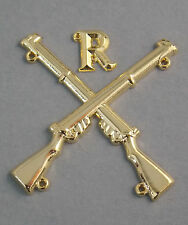 "MARKSMAN BADGE CROSSED LEE ENFIELD .303 RIFLES WITH LETTER ""R"" GOLD PLATED"