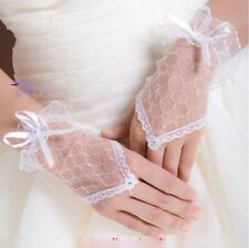 Wedding Mesh Net Gloves Prom Party Lace Fingerless Bride Gloves Dress Bridal
