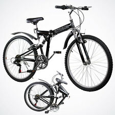"New 26"" Folding Mountain Bicycle Foldable Bike 6 Speed Shimano Black Color"