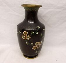 "Vtg Chinese Cloisonne Vase Urn Decor BLack Enamel on Brass 9"" Tall Flower Floral"