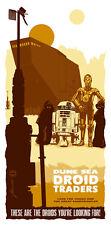 Tatooine Jawa Traders Sandcrawler R2D2 C3PO Droids Star Wars Silk Screen Art