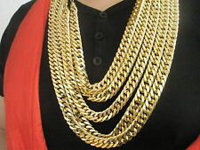 "30"" Luxury Stoneless 18K Gold Chain Necklace & Box Men's Birthday Gift Husband"