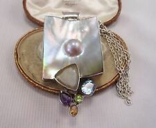 A Fabulous Large Multi Gem Mother of Pearl Pendant set in solid Silver