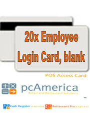20x Blank Employee Login Cards for RPE / CRE PcAmerica Point of Sale POS: NEW