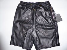 8558 bape x dover black collection shark leather shorts L