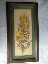 VINTAGE MID CENTURY FRAMED 3D PAPER ART WALL DECOR, IRIS FLOWERS Robert Laessig