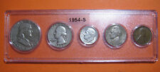"""1954 US Coin Year Set 5 Coins 90% Silver - All """"S"""" Mint"""