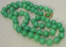 """vtg  9mm jade GREEN ONYX STONE BEAD NECKLACE 24"""" matinee strand STERLING clasp"""