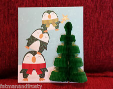 POP UP 3D CHRISTMAS CARD DECORATION - Toppling PENGUINS Glittery Christmas Card