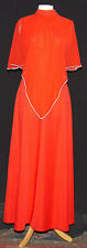 VINTAGE POPPY RED 1970's DISCO DIVA MAXI DRESS WITH CHIFFON CAPELET COLLAR 10