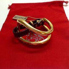 "NWT Uno de 50 Goldtone/Leather Bracelet 7""-9""  $329  ""Bite"""