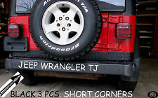 Jeep TJ Wrangler 3 1/2  BLACK Diamond Plate SHORT CORNER Guards  1997- 2006..