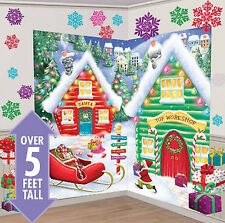 SANTA'S WORKSHOP Scene Setter Christmas party wall decor 32pcs North Pole elves