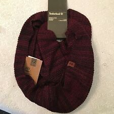 Timberland unisex wool blend warm waffle knit infinity scarf red/burgandy NEW
