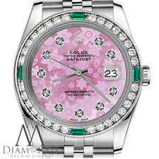 Womans Classic Rolex 36mm Datejust Pink Flower MOP Dial Emerald Diamond Watch