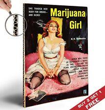 La marihuana Chica Vintage A4 Cartel * 1950 Pasta Libro Novela Tapa * hardbacked