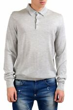 Malo Men's Polo Gray Silk Cashmere Light Pullover Sweater US XL IT 54