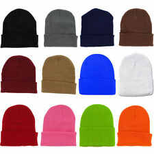 3x Plain Beanie Ski Cap Hat Skull Knit Winter Cuff Pick Your Color Mens & Womens