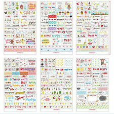 6 Sheets DIY Book Wall paper Stickers Diary Scrapbook Decoration Photo Skin