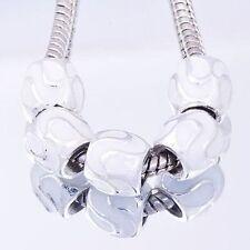 5PCS GF/Silver White Enamel Charms Beads European Fit DIY Chain Link Bracelet